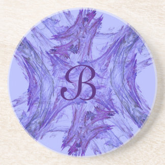 Fractal Frost Series-3---Purple coaster--1 of Sandstone Coaster