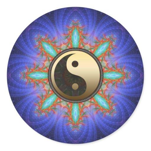 Fractal Geometric Star Gold Yin Yang Sticker