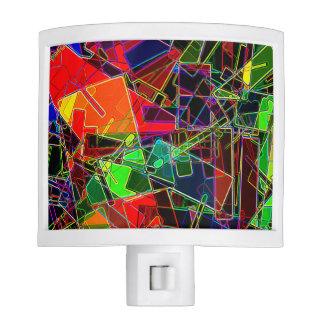 Fractal geométrico de neón luces de noche