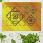 """Fractal Geometry Hand Towel<br><div class=""""desc"""">Three styles of hand-drawn fractals,  including Siepinski triangles,  Apollonian gaskets,  and a similarly themed square design,  make up the layers of this geometric mandala,  overlaid onto a bright yellow and orange gradient.</div>"""