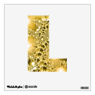 Fractal Gold Floral Vine with Lights Wall Decal