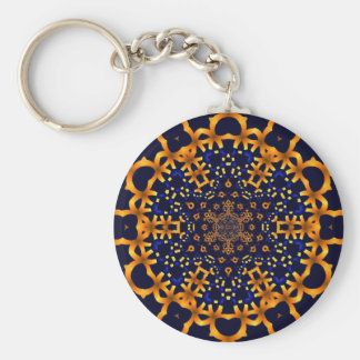 Fractal gold snowflake Keychain