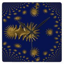 Fractal golden stars square wall clock