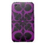 Fractal gótico púrpura del corazón Case-Mate iPhone 3 protectores