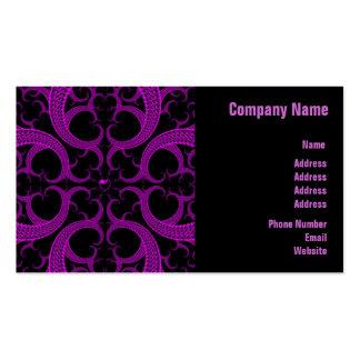 Fractal gótico púrpura del corazón tarjetas de visita