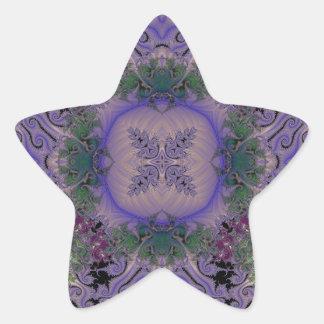 Fractal grabado en relieve 12 calcomanías forma de estrellaes