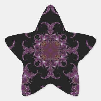 Fractal grabado en relieve 6 pegatinas forma de estrella