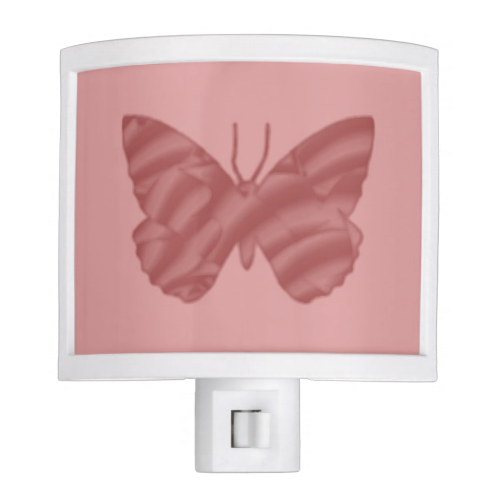 Fractal Gradient Butterfly in Pink on Pink Night Lights