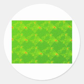Fractal Green Diamonds Swatch Classic Round Sticker