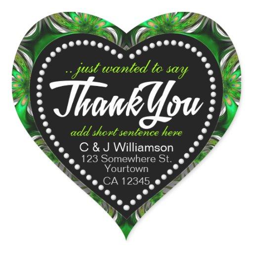 Fractal Green Forest Peacock Thank You Heart Heart Sticker