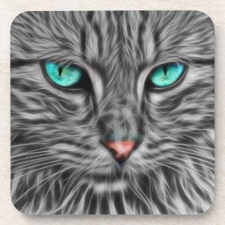 Fractal grey cat illustration drink coaster
