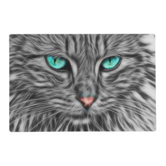 Fractal grey cat illustration placemat