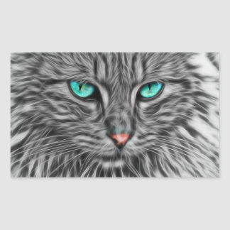 Fractal grey cat illustration rectangular sticker