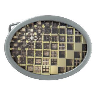 Fractal Grid Oval Belt Buckle