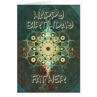 Fractal grunge birthday card for Father