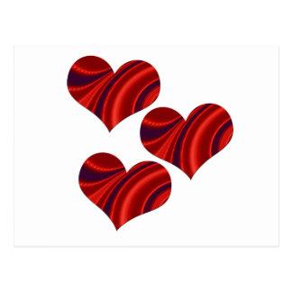 Fractal Heart Trio Postcard
