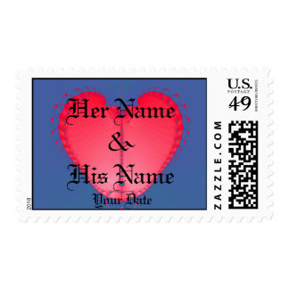 Fractal Heart Wedding Invitatation Postage Stamp