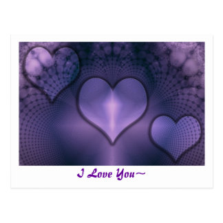 Fractal Hearts Purple Inmate Postcard