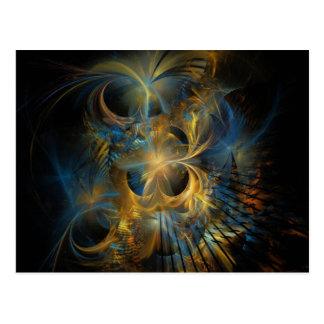 Fractal hermoso del azul y del oro postales