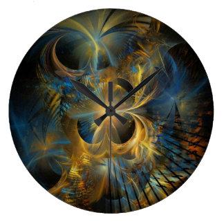 Fractal hermoso del azul y del oro reloj de pared