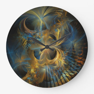 Fractal hermoso del azul y del oro reloj redondo grande
