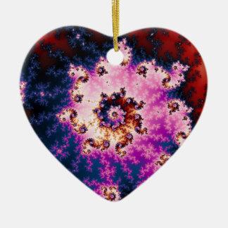 Fractal ideal rosado del navidad adorno de cerámica en forma de corazón