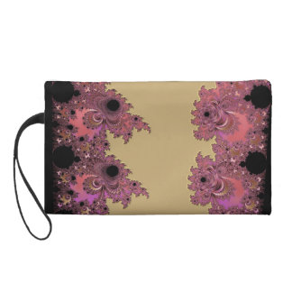 Fractal in Pink Black and Metallic Gold Wristlet Purse