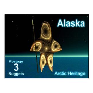 Fractal Inuit Hunter - Alaska Postage Postcard