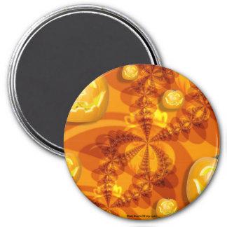 Fractal Jack-O-Lanterns Round Magnet