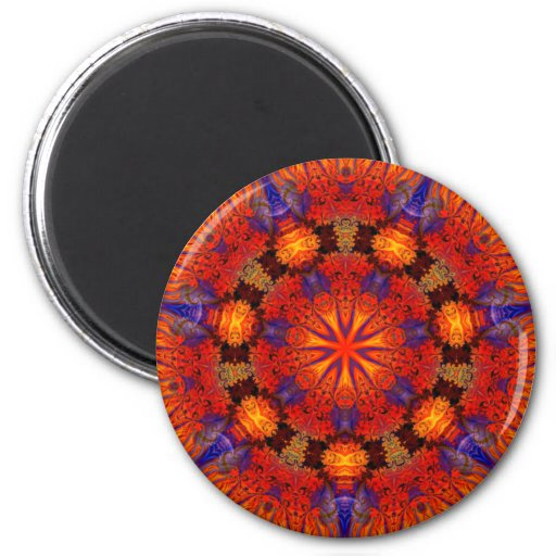 Fractal Kaleidoscope Art 726 2 Inch Round Magnet
