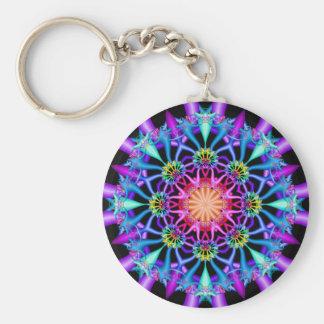 Fractal Kaleidoscope Rainbow Florets Keychain