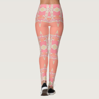 Fractal Lace Garter Pink+Orange Leggings ★Psydefx★