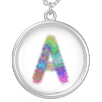 Fractal letter A monogram Silver Plated Necklace