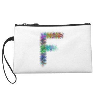 Fractal letter F monogram Wristlet
