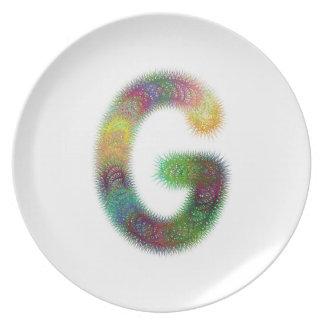 Fractal letter G monogram Melamine Plate