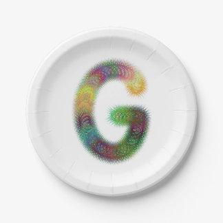 Fractal letter G monogram Paper Plate
