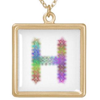 Fractal letter H monogram Gold Plated Necklace
