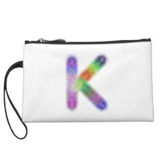 Fractal letter K monogram Wristlet