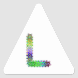 Fractal letter L monogram Triangle Sticker