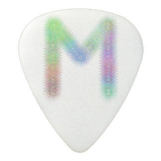 Fractal letter M monogram Acetal Guitar Pick