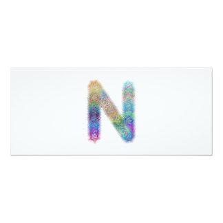 Fractal letter N monogram Card