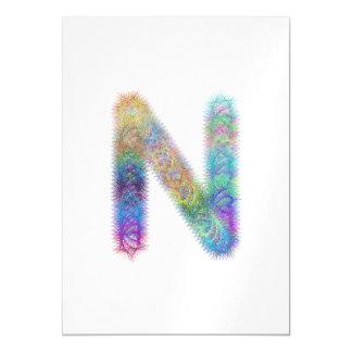 Fractal letter N monogram Magnetic Card