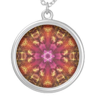 Fractal Light Golden Starburst  Necklace