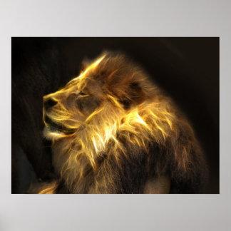 Fractal lion poster