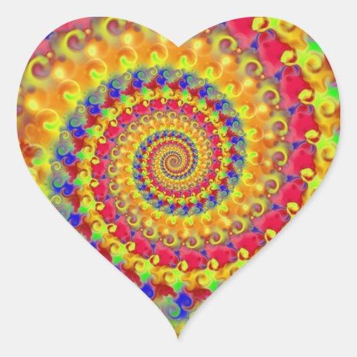 Fractal loco amarillo pegatina en forma de corazón
