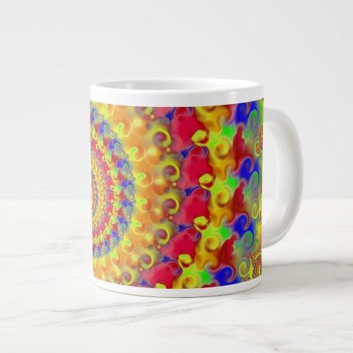 Fractal loco amarillo taza extra grande