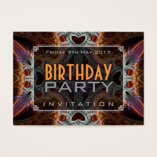 Fractal Love Hearts Birthday Mini Invitations
