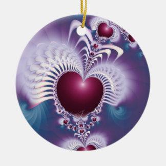 Fractal Love Hearts Circle Ornament