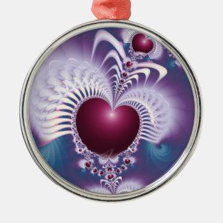 Fractal Love Hearts Premium Round Ornament