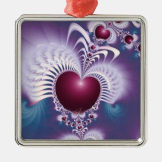 Fractal Love Hearts Premium Square Ornament